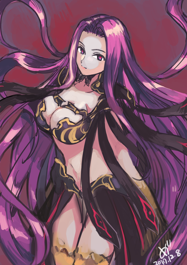 1girl 2017 absurdly_long_hair armor bikini_armor black_armor breasts closed_mouth dated eyebrows facing_away fate/grand_order fate_(series) floating_hair gorgon_(fate) hair_intakes large_breasts long_hair looking_at_viewer medu_(rubish) midriff navel purple_hair red_pupils rider scales showgirl_skirt solo stomach straight_hair very_long_hair violet_eyes