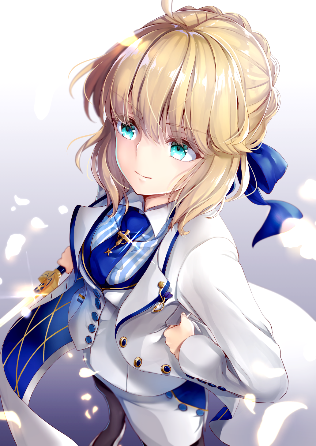 1girl ahoge artoria_pendragon_(all) bangs blonde_hair blue_ribbon blush buttons closed_mouth commentary_request est eyebrows_visible_through_hair fate/grand_order fate_(series) green_eyes hair_ribbon hane_yuki highres jewelry lapel lapel_pin long_hair looking_at_viewer multicolored multicolored_clothes pendant ribbon saber solo vest white_background