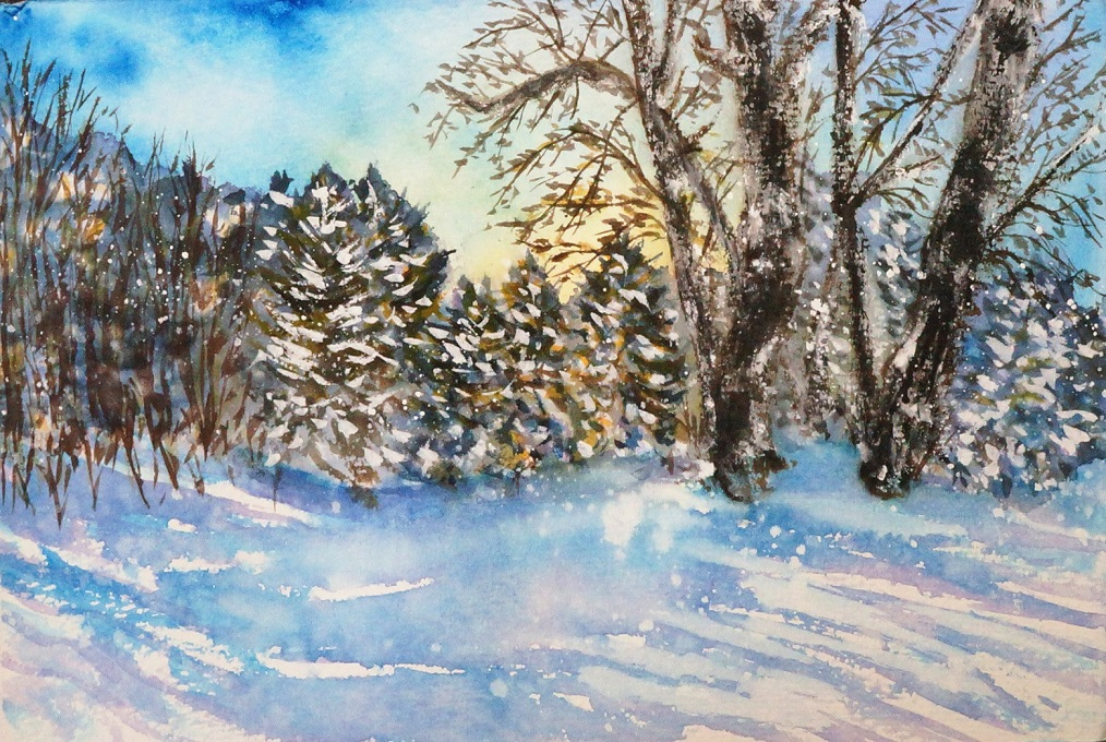 blue_sky clouds cloudy_sky commentary commentary_request cxykinya day landscape nature original outdoors scenery sky snow traditional_media tree watercolor_(medium) winter