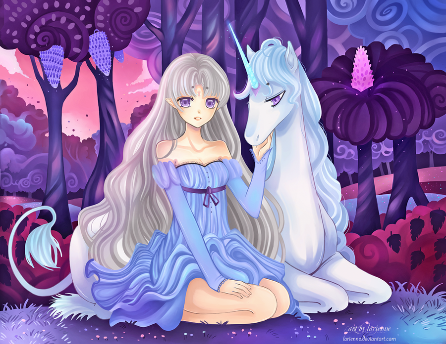 1girl bare_shoulders dress dual_persona fantasy forest horns lady_amalthea larienne long_hair nature silver_hair solo the_last_unicorn the_unicorn_(the_last_unicorn) unicorn violet_eyes