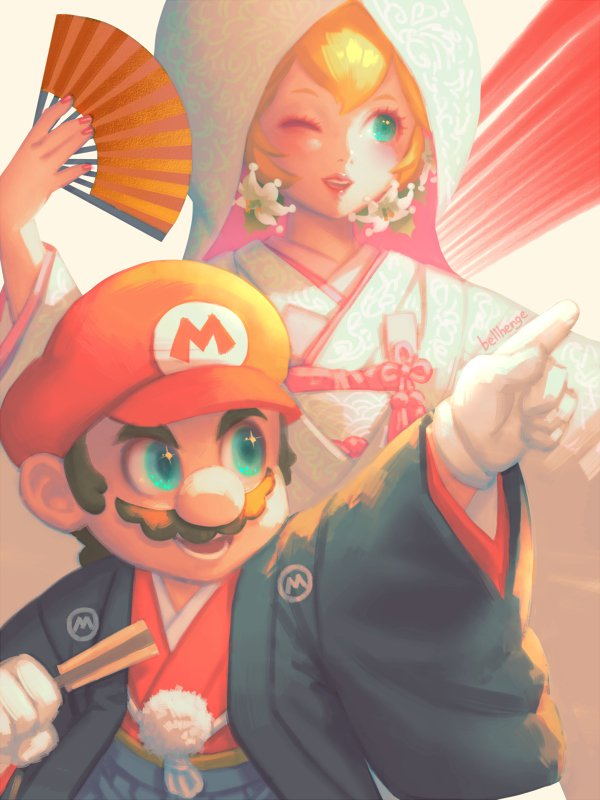 1boy 1girl bellhenge blonde_hair blue_eyes facial_hair fan gloves hat japanese_clothes kimono long_hair mario mario_(series) mustache nintendo nintendo_ead open_mouth princess_peach simple_background smile super_mario_bros. super_mario_odyssey