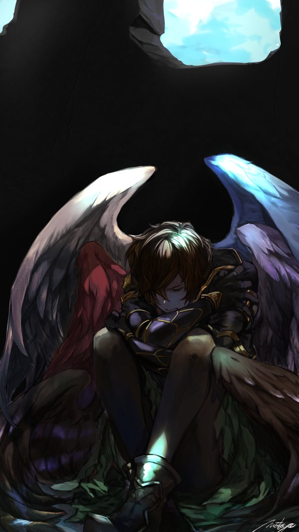 1boy armor boots brown_hair closed_eyes fingerless_gloves gloves granblue_fantasy hood leg_hug male_focus matsuya_(pile) multiple_wings pantyhose sandalphon_(granblue_fantasy) seraph short_hair sitting wings