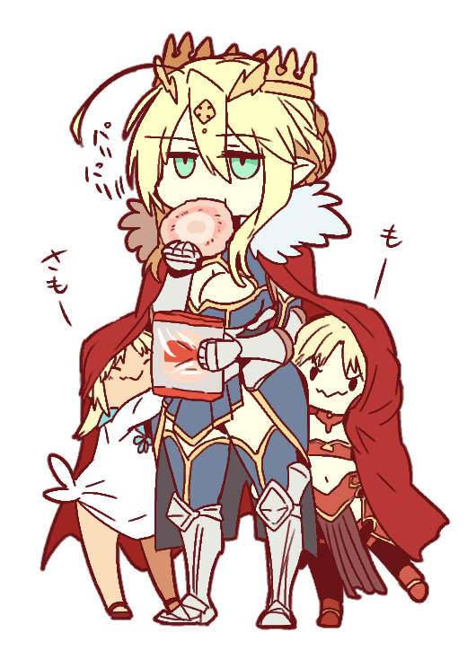 age_regression artoria_pendragon_(all) artoria_pendragon_(lancer) behind_back blonde_hair breasts cape cleavage eating fate/apocrypha fate/grand_order fate_(series) green_eyes mordred_(fate) mordred_(fate)_(all) mordred_(swimsuit_rider)_(fate) mother_and_daughter pointy_ears red_cape younger