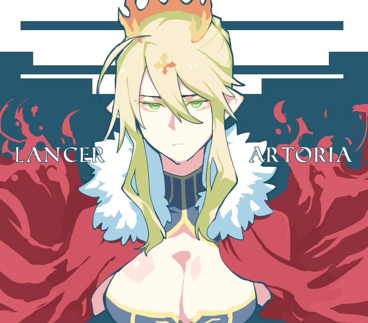 artoria_pendragon_(all) artoria_pendragon_(lancer) blonde_hair breasts cape cleavage fate/grand_order fate_(series) green_eyes looking_at_viewer pointy_ears red_cape takatsuki_nato