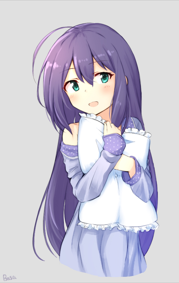 1girl :d ahoge bangs bare_shoulders basa_rutan blue_eyes blush eyebrows_visible_through_hair frilled_pillow frills grey_background hair_between_eyes idolmaster idolmaster_million_live! long_hair long_sleeves mochizuki_anna nightgown off_shoulder open_mouth pillow pillow_hug purple_hair simple_background sleeves_past_wrists smile solo very_long_hair
