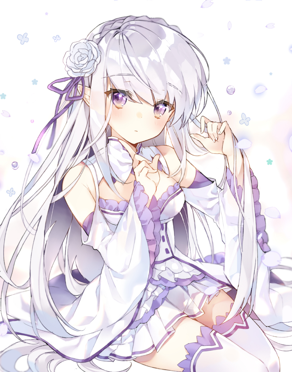 1girl bangs bare_shoulders blush braid breasts cleavage_cutout closed_mouth commentary_request crown_braid elf emilia_(re:zero) eyebrows_visible_through_hair fingernails flower frilled_sleeves frills hair_between_eyes hair_flower hair_ornament hair_ribbon head_tilt highres long_hair long_sleeves looking_at_viewer medium_breasts nail_polish petals pingo pleated_skirt pointy_ears purple_ribbon re:zero_kara_hajimeru_isekai_seikatsu ribbon rose shirt silver_hair sitting skirt solo thigh-highs very_long_hair violet_eyes white_background white_flower white_legwear white_nails white_rose white_shirt wide_sleeves