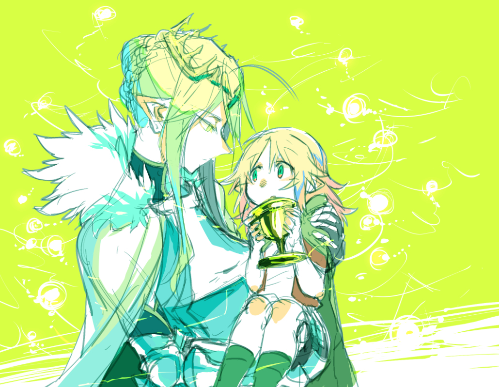 age_regression armor artoria_pendragon_(all) artoria_pendragon_(lancer) blonde_hair breasts cape carrying cleavage fate/apocrypha fate/grand_order fate_(series) grail green_eyes mordred_(fate) mordred_(fate)_(all) mother_and_daughter pointy_ears princess_carry takatsuki_nato white_cape younger