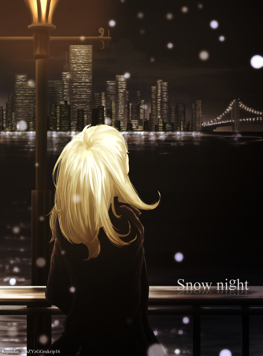 1girl artist_name blonde_hair bridge building city_lights cityscape english faceless from_behind kijineko lamppost night original outdoors river scenery short_hair snowing solo water