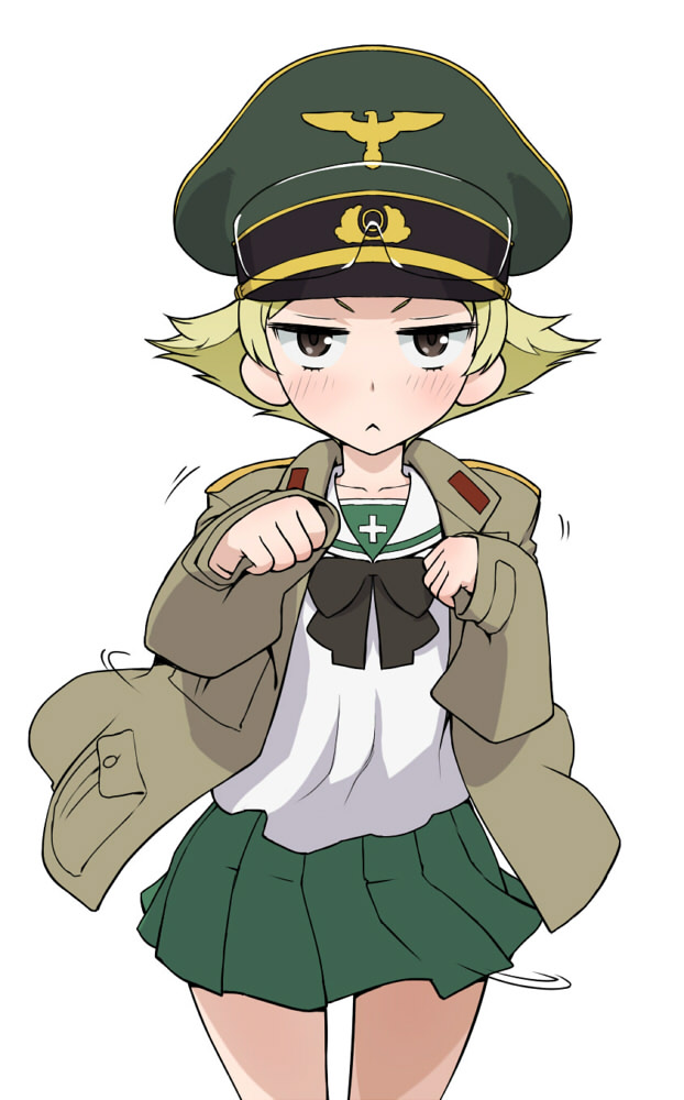 >:< 1girl :< black_neckwear blonde_hair blouse blush bow bowtie brown_eyes brown_jacket closed_mouth commentary cowboy_shot erwin_(girls_und_panzer) frown girls_und_panzer goggles goggles_on_headwear green_hat green_skirt hat jacket long_sleeves looking_at_viewer military military_hat military_jacket military_uniform miniskirt motion_lines ooarai_school_uniform open_clothes open_jacket paw_pose peaked_cap pleated_skirt pointy_hair school_uniform serafuku short_hair simple_background skirt sleeves_past_wrists solo standing staring uniform v-shaped_eyebrows wata_do_chinkuru white_background white_blouse