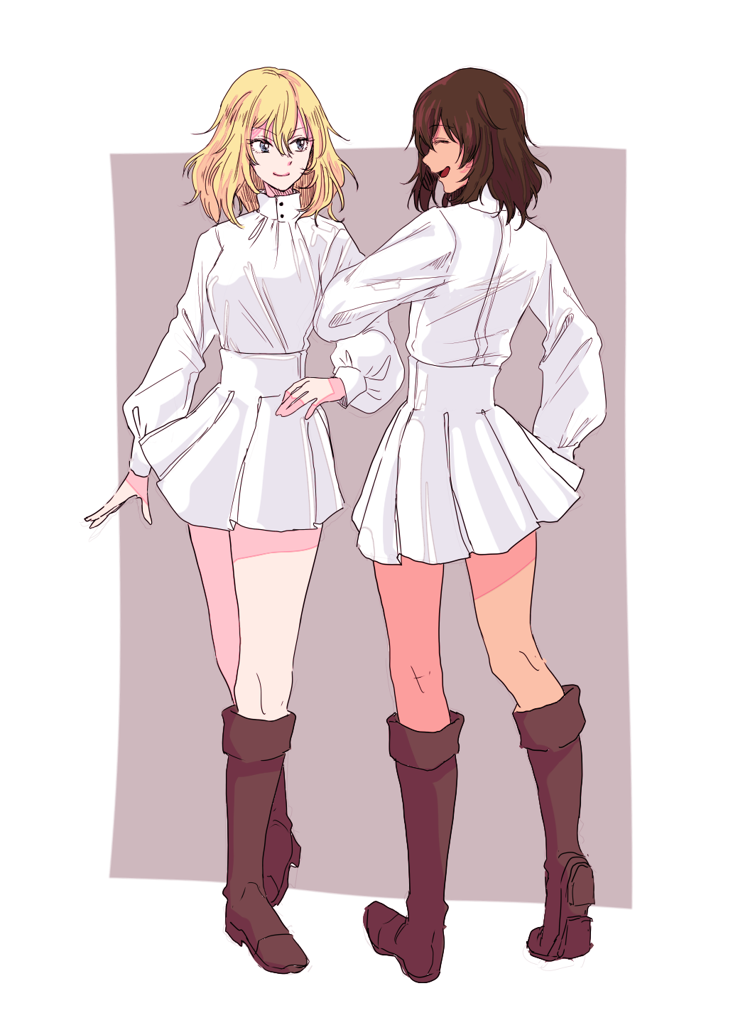 2girls andou_(girls_und_panzer) bc_freedom_military_uniform black_footwear black_hair blonde_hair blue_eyes boots closed_mouth dark_skin dress_shirt facing_another from_behind full_body girls_und_panzer grey_background high_collar highres kani_aruki_(bucket_crawl) knee_boots locked_arms looking_at_another medium_hair military military_uniform miniskirt multiple_girls open_mouth oshida_(girls_und_panzer) outside_border pleated_skirt shirt skirt smile standing uniform white_shirt white_skirt