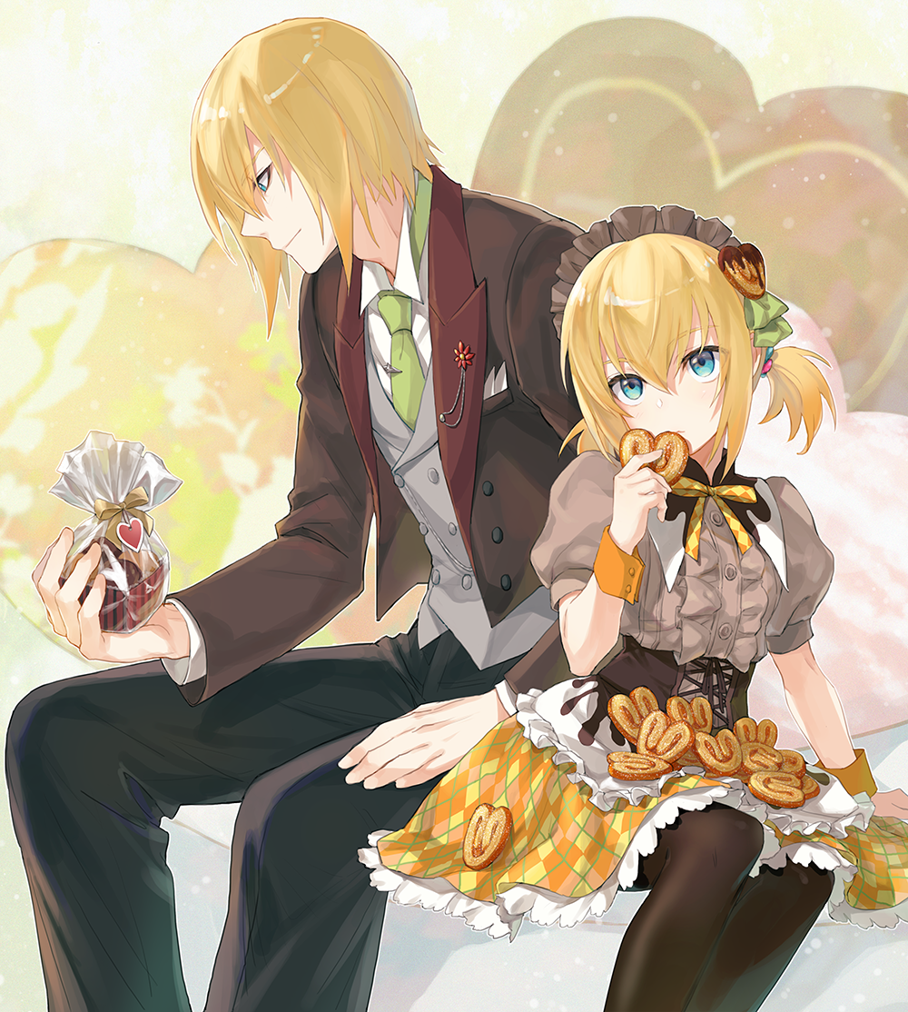 1boy 1girl alternate_costume apron argyle_skirt black_legwear black_pants blonde_hair blouse blue_eyes brother_and_sister cookie corset cropped_legs edna_(tales) eizen_(tales) food food_themed_hair_ornament formal frilled_apron frills gift_bag green_neckwear grey_blouse hair_ornament hairband height_difference holding holding_food isa_(peien516) looking_at_viewer necktie pants pantyhose profile puffy_sleeves short_hair siblings sitting skirt smile suit tales_of_(series) tales_of_berseria tales_of_zestiria yellow_skirt