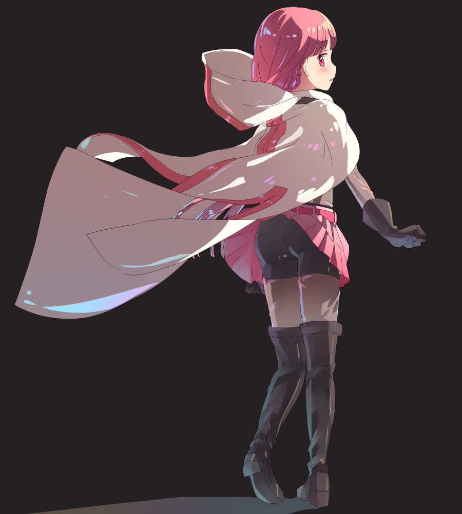 1girl ass ayaki_ichigo belt bike_shorts black_background black_footwear black_gloves black_legwear blush bodystocking boots cape clenched_hand from_behind gloves hood long_hair looking_back magia_record:_mahou_shoujo_madoka_magica_gaiden mahou_shoujo_madoka_magica miniskirt pink_eyes pink_hair pink_skirt ponytail shorts shorts_under_skirt simple_background skirt skirt_tug solo tamaki_iroha thigh-highs thigh_boots white_cape wind wind_lift