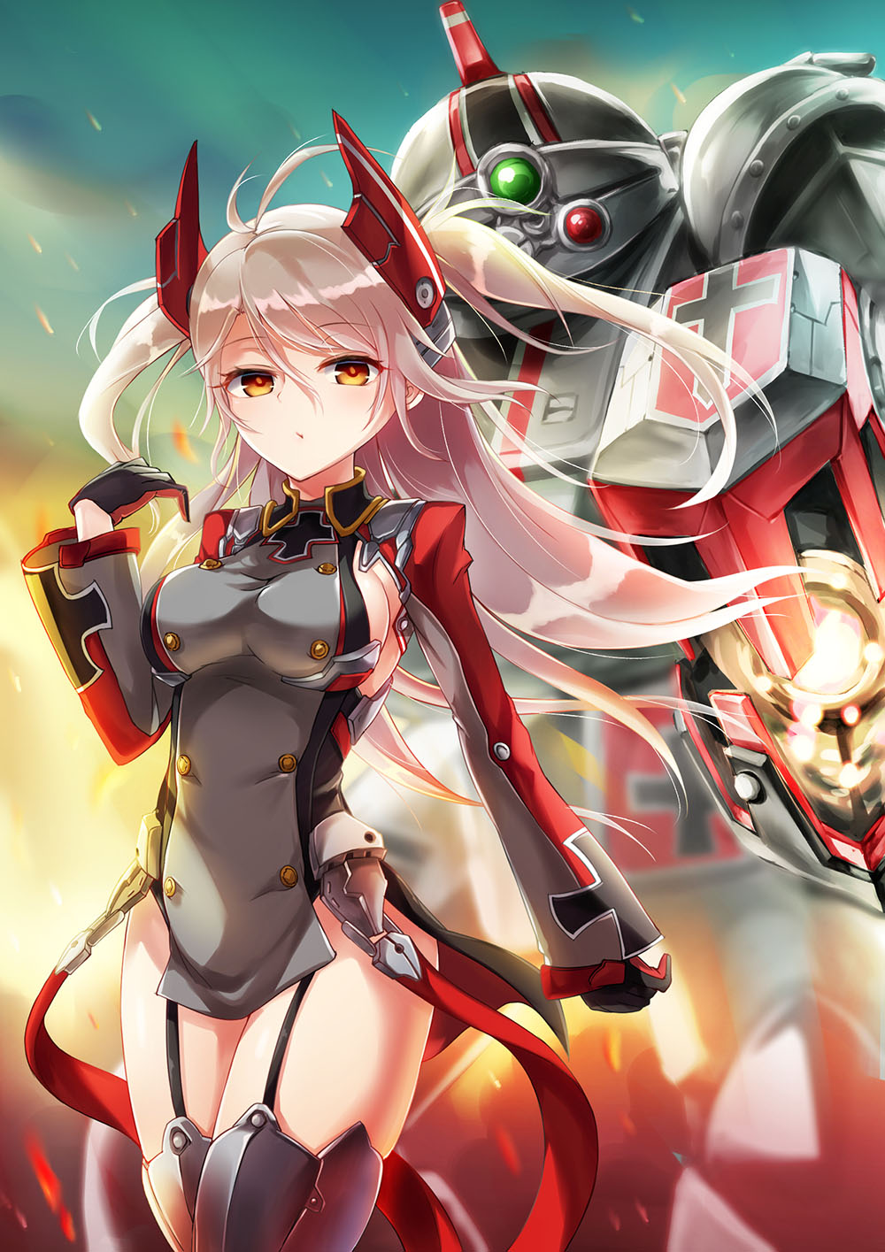 1girl armor armored_boots azur_lane bangs boots breasts cowboy_shot dress embers evening eyebrows_visible_through_hair garter_straps german_flag gloves hair_between_eyes headgear highres iron_cross long_hair long_sleeves mecha medium_breasts oshishio outdoors prinz_eugen_(azur_lane) short_dress shrug_(clothing) sideboob silver_hair soukou_kihei_votoms thigh-highs thigh_boots thighs two_side_up wind yellow_eyes
