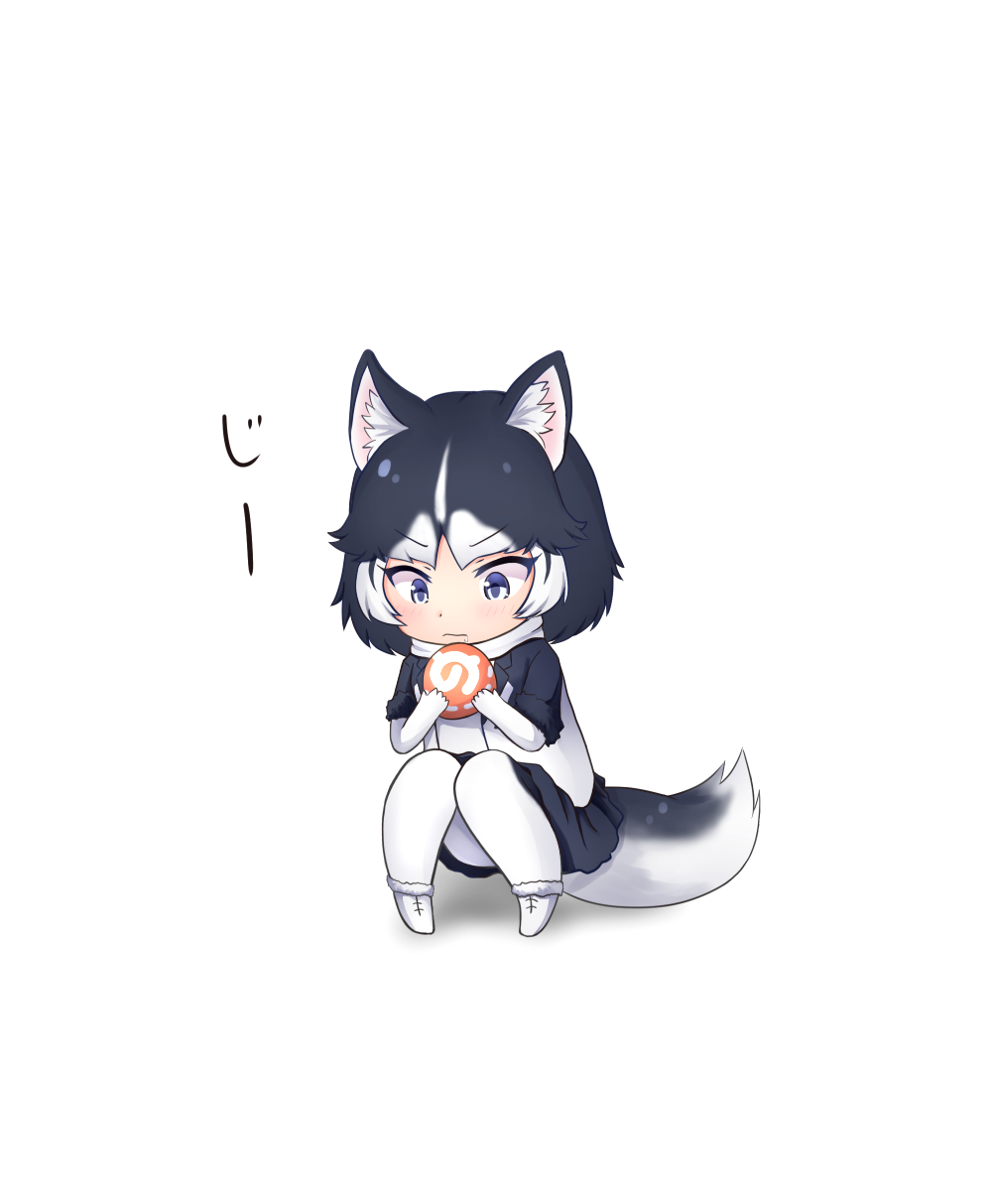 animal_ears black_hair check_translation dog_ears dog_tail elbow_gloves eyebrows_visible_through_hair food fur_trim gloves highres jacket japari_bun japari_symbol kemono_friends multicolored_hair nina_yuki pantyhose pleated_skirt saliva scarf short_hair short_sleeves siberian_husky_(kemono_friends) skirt sound_effects tail translation_request v-shaped_eyebrows white_hair