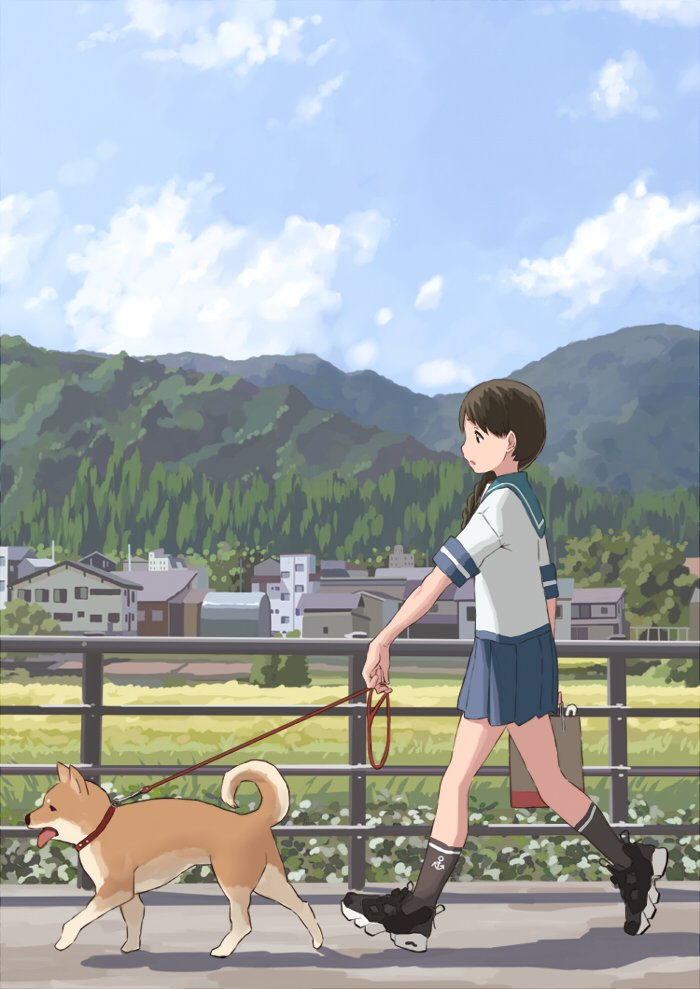 1girl black_legwear blue_sailor_collar blue_skirt braid brown_eyes brown_hair dog fence full_body house kantai_collection kneehighs leash long_hair matsutani mountain pleated_skirt sailor_collar scenery school_uniform serafuku shiba_inu single_braid skirt uranami_(kantai_collection) walking