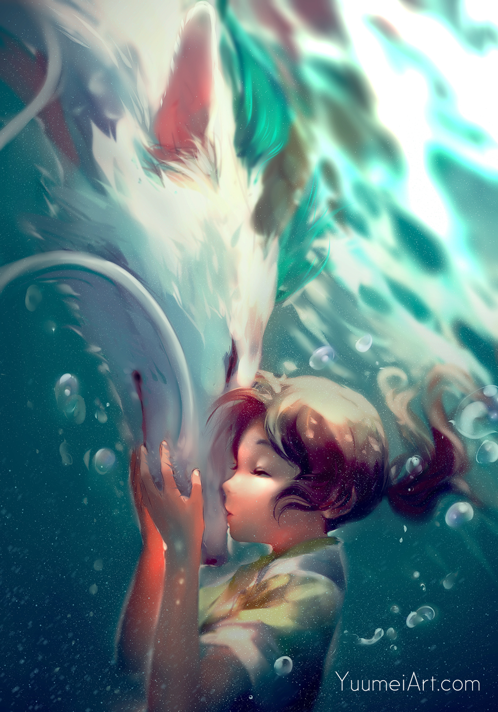 1girl brown_hair closed_eyes commentary dragon eastern_dragon haku_(sen_to_chihiro_no_kamikakushi) hetero highres kiss nose_kiss ogino_chihiro ponytail sen_to_chihiro_no_kamikakushi short_hair underwater watermark web_address wenqing_yan whiskers