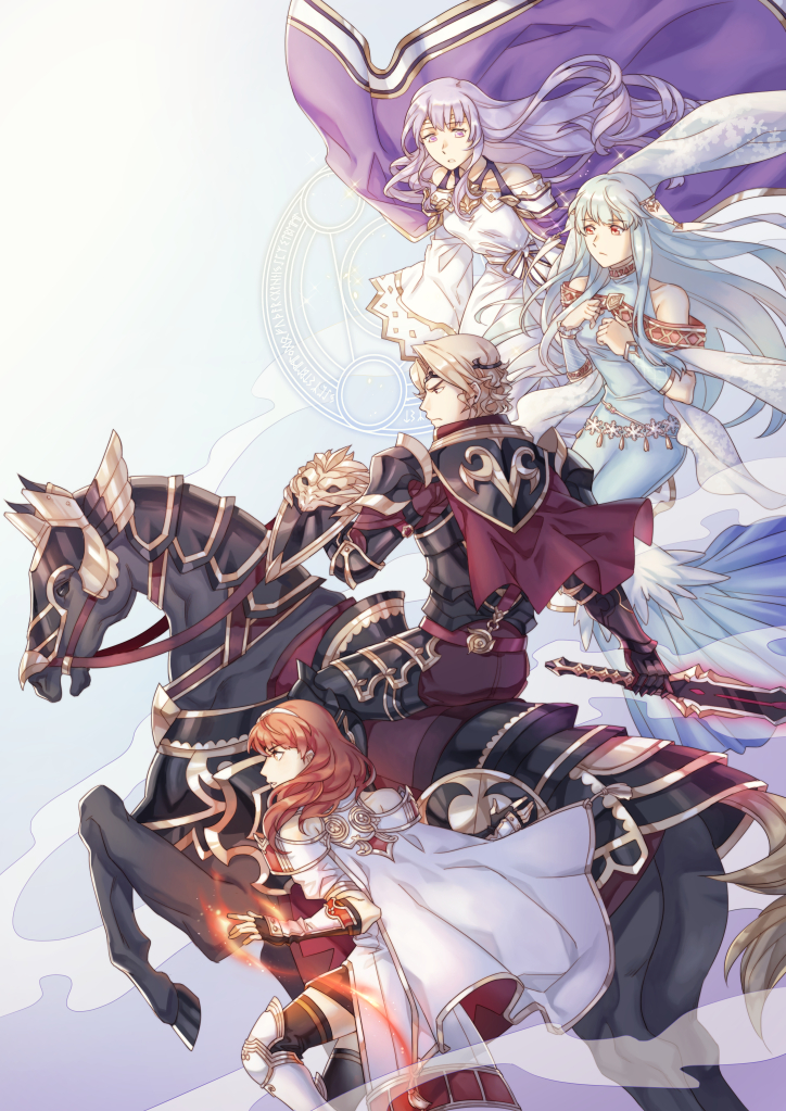 1boy 3girls animal armor blonde_hair blue_eyes blue_hair capelet celica_(fire_emblem) diadora_(fire_emblem) dress fingerless_gloves fire fire_emblem fire_emblem:_rekka_no_ken fire_emblem:_seisen_no_keifu fire_emblem_echoes:_mou_hitori_no_eiyuuou fire_emblem_gaiden fire_emblem_heroes fire_emblem_if gauntlets gloves holding holding_sword holding_weapon horse horseback_riding magic marks_(fire_emblem_if) multiple_girls ninian redhead riding shield sword tecchen thigh-highs wavy_hair weapon white_hair