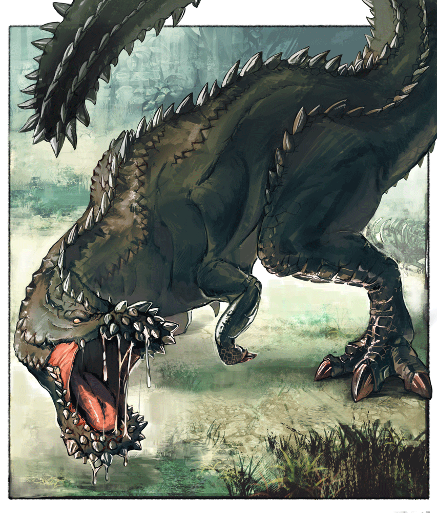 bone claws day deviljho dinosaur dragon drooling from_above grass kyo_niku looking_afar monster_hunter no_humans open_mouth outdoors scales sharp_teeth solo spikes standing teeth tongue