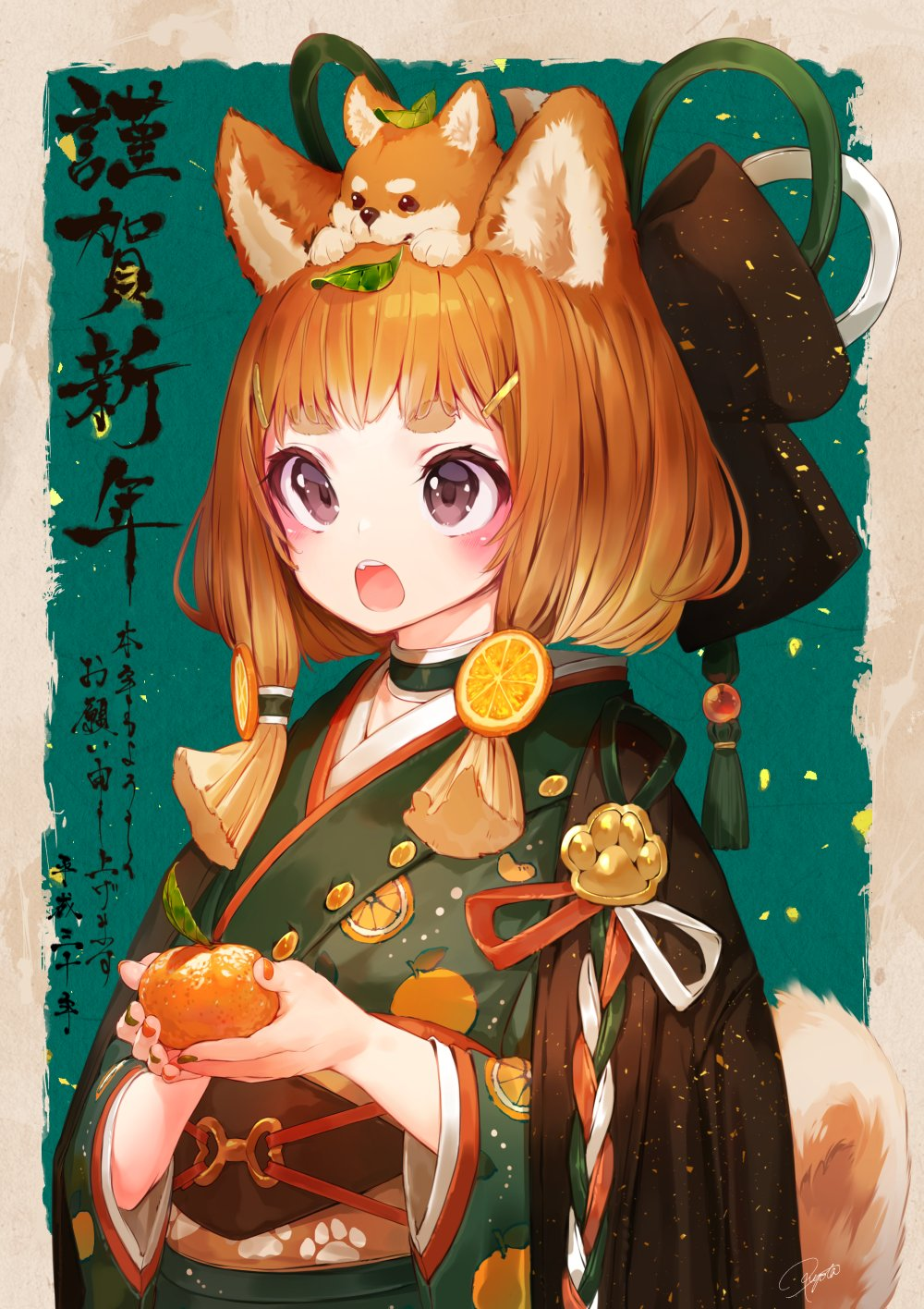 1girl animal animal_ears animal_on_head bangs black_bow black_eyes blush bow brown_border choker commentary curled_tail dog dog_ears dog_girl dog_tail eyebrows_visible_through_hair fang food food_print food_themed_hair_ornament fruit green_background green_choker green_kimono green_nails green_ribbon hair_bow hair_ornament hair_ribbon hair_tubes hairclip hakura_kusa hanten_(clothes) happy_new_year highres hikimayu holding holding_food holding_fruit japanese_clothes kimono leaf leaf_on_head long_sleeves looking_away looking_up mandarin_orange multicolored multicolored_nail_polish nail_polish new_year obi on_head open_mouth orange orange_hair_ornament orange_nails orange_print orange_slice original outside_border paw_print print_kimono print_obi puppy red_ribbon ribbon sash shiba_inu shiny shiny_hair short_hair_with_long_locks signature tail upper_body white_ribbon year_of_the_dog