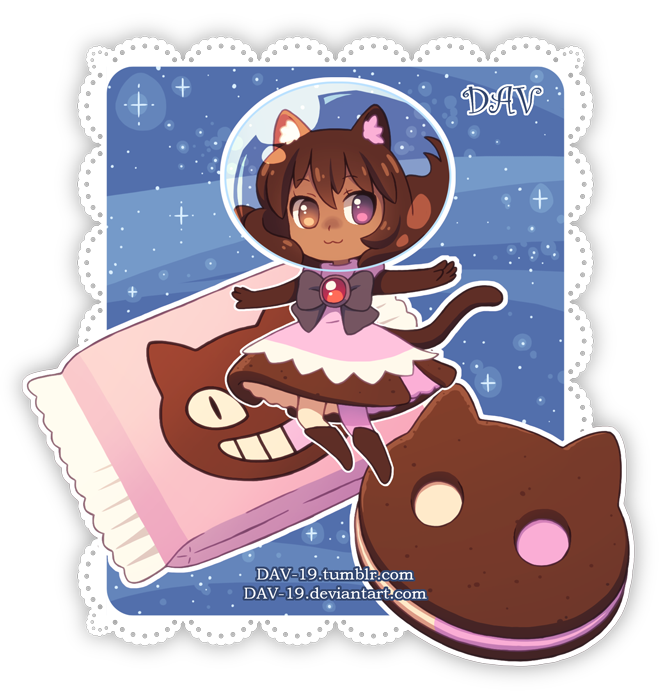 1girl :3 animal_ears artist_name black_bow boots bow brooch brown_eyes brown_footwear brown_hair cat_ears cat_girl cat_tail chibi closed_mouth commentary cookie cookie_cat dark_skin dav-19 dress floating food heterochromia ice_cream jewelry lace_background outstretched_arms personification pink_dress pink_legwear single_thighhigh solo space_helmet spread_arms steven_universe tail thigh-highs transparent_background violet_eyes watermark web_address