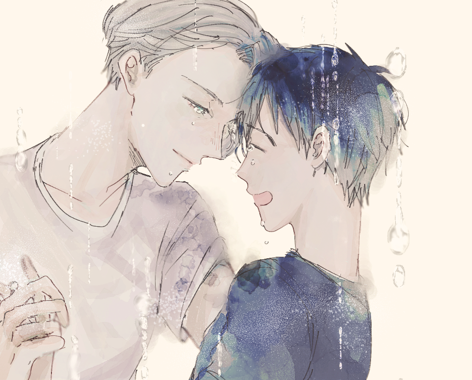 2boys black_hair black_shirt blue_eyes closed_eyes crying crying_with_eyes_open expressionless eyebrows_visible_through_hair forehead-to-forehead hands_clasped hands_together katsuki_yuuri looking_down male_focus multiple_boys open_mouth own_hands_together shirt short_hair simple_background smile tears viktor_nikiforov water water_drop white_background white_hair white_shirt yaoi yuri!!!_on_ice zilu