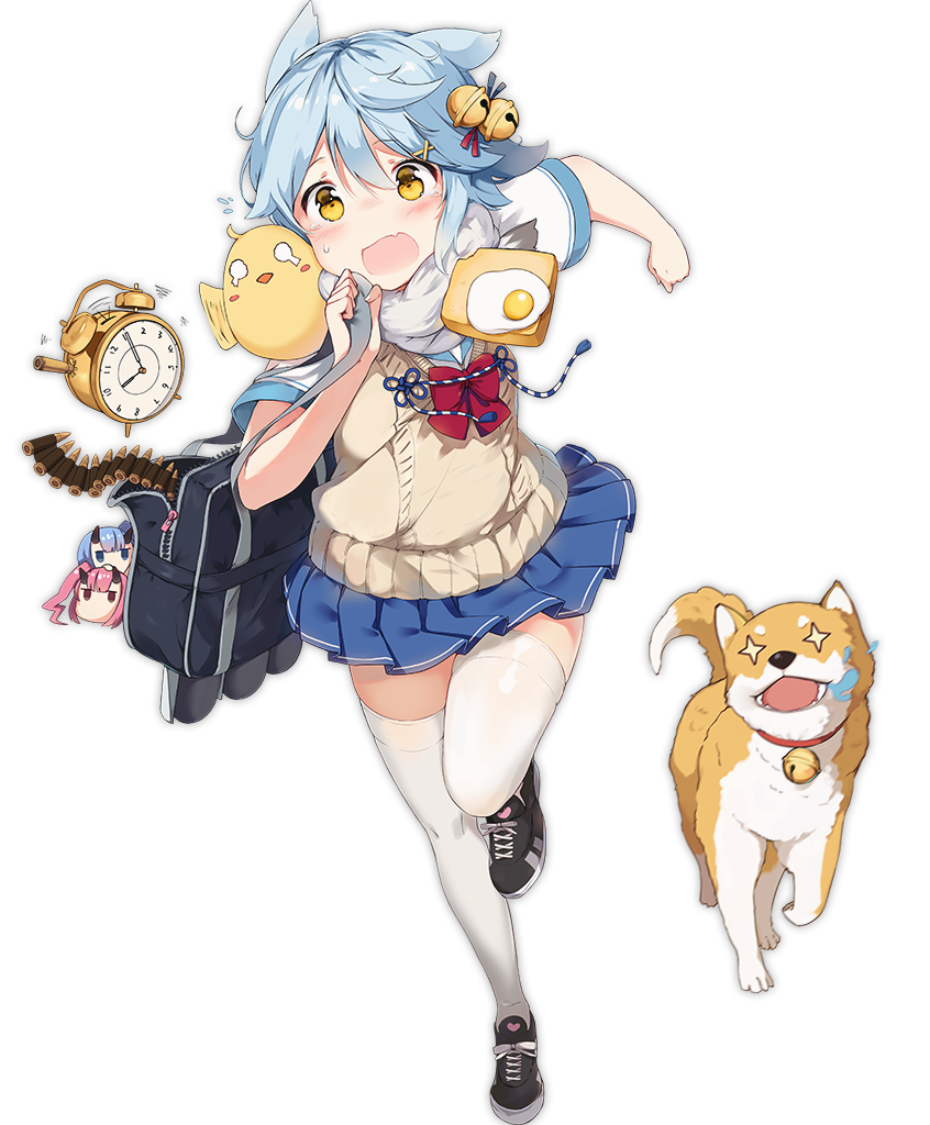 +_+ 1girl alarm_clock animal animal_ears azur_lane bag bangs bare_arms bell bird black_footwear blue_hair blue_skirt blush boqboq bow bowtie cat_ears character_doll chick clenched_hand clock dog duffel_bag egg eyebrows eyebrows_visible_through_hair fang food fubuki_(azur_lane) full_body hair_bell hair_between_eyes hair_ornament ikazuchi_(azur_lane) inazuma_(azur_lane) jingle_bell late official_art orange_eyes pleated_skirt red_bow red_neckwear running school_uniform shiba_inu shirt shoelaces shoes short_hair simple_background skirt sneakers solo sweater_vest tachi-e tears thigh-highs toast transparent_background unzipped vest white_shirt x_hair_ornament zettai_ryouiki zipper zipper_pull_tab