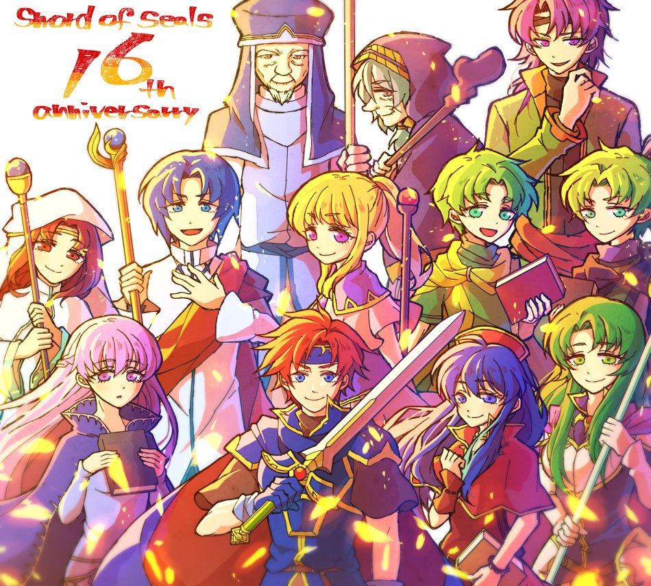 armor blue_eyes blue_hair blush breasts cape cecilia_(fire_emblem) dress elbow_gloves fa fire_emblem fire_emblem:_fuuin_no_tsurugi gloves green_eyes green_hair hat hetero hzk_(ice17moon) large_breasts lilina long_hair open_mouth redhead roy_(fire_emblem) short_hair simple_background smile sofiya white_background