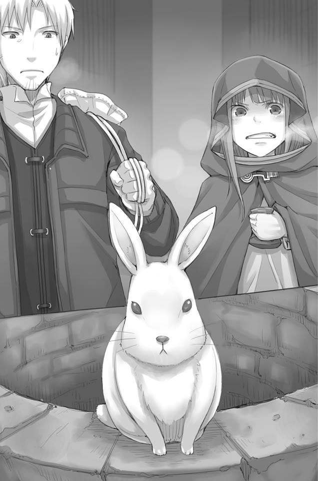 1boy 1girl ayakura_juu cape clenched_teeth craft_lawrence greyscale holding holding_bag holo hood hooded long_hair monochrome novel_illustration official_art outdoors rabbit spice_and_wolf sweatdrop teeth well