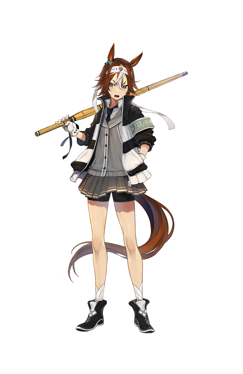 1girl animal_ears artist_request bamboo_memory bike_shorts black_footwear black_neckwear blue_eyes boots brown_hair full_body gloves hair_between_eyes hand_in_pocket headband highres horse_ears horse_tail jacket looking_at_viewer multicolored_hair necktie official_art open_mouth pleated_skirt school_uniform shinai short_hair shorts_under_skirt skirt solo sword tail transparent_background two-tone_hair umamusume weapon white_gloves white_hair