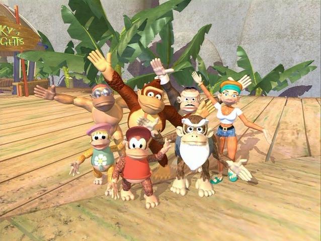 3d ape belt bluster_kong candy_kong cranky_kong dancing diddy_kong dixie_kong donkey_kong donkey_kong_(series) extended_arms funky_kong gorilla group monkey necktie nintendo no_humans sandals shorts