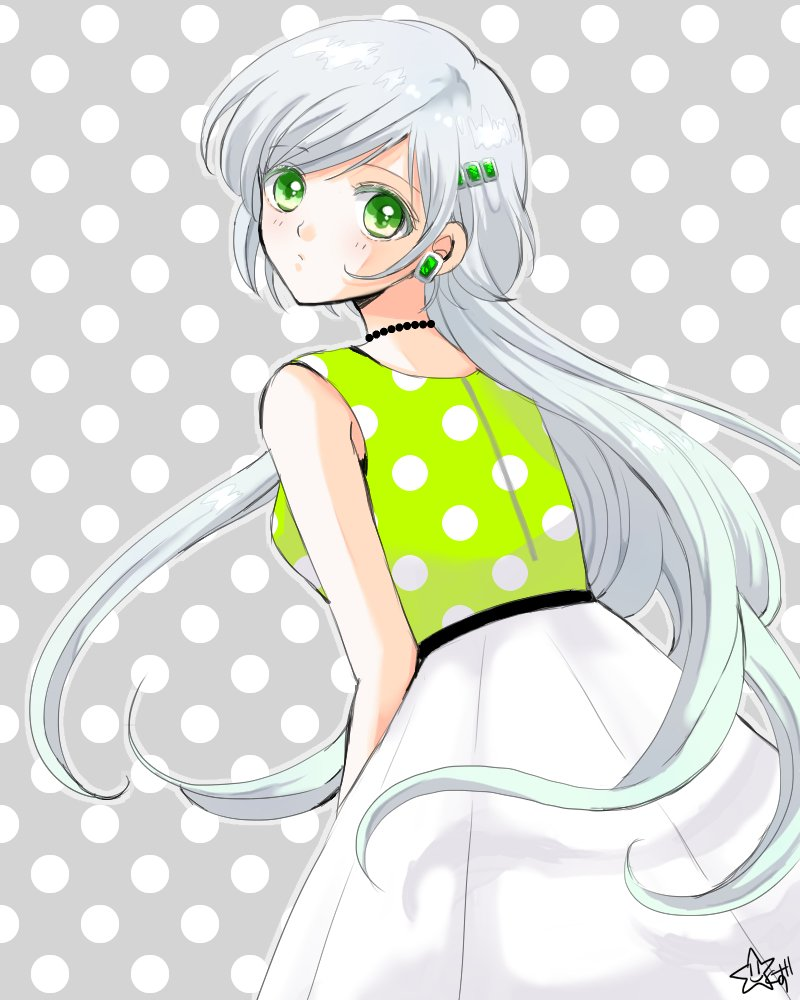 1girl alternate_hairstyle bishoujo_senshi_sailor_moon dress earrings green_eyes hair_down hair_ornament hairclip jewelry long_hair looking_back milkyway792 necklace pearl_necklace polka_dot polka_dot_background polka_dot_dress signature silver_hair simple_background skirt sleeveless solo very_long_hair white_hair yaten_kou