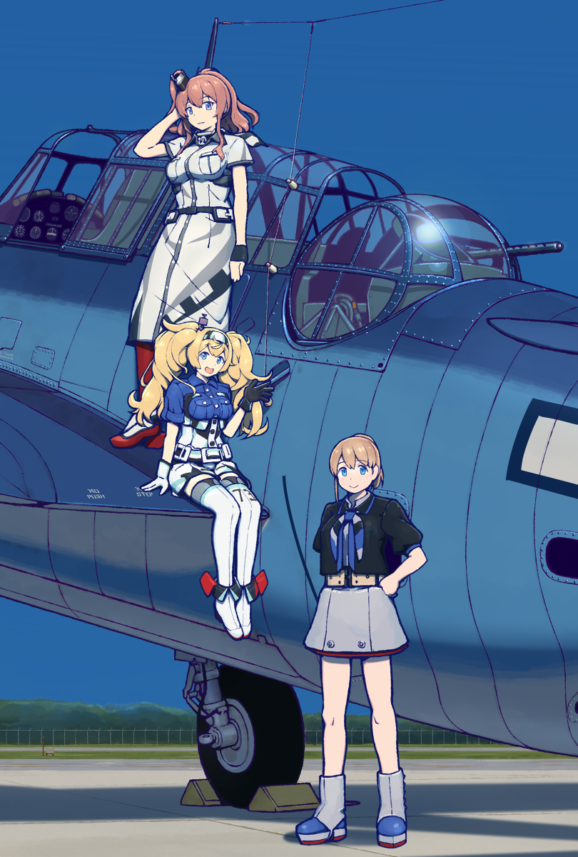 3girls aircraft anchor black_shirt blonde_hair blue_eyes breast_pocket breasts brown_hair dress gambier_bay_(kantai_collection) gloves hair_between_eyes hair_ornament hairband highres intrepid_(kantai_collection) kantai_collection large_breasts long_hair multiple_girls mumyoudou neckerchief pocket ponytail red_legwear saratoga_(kantai_collection) shirt short_hair side_ponytail smokestack thigh-highs twintails white_dress