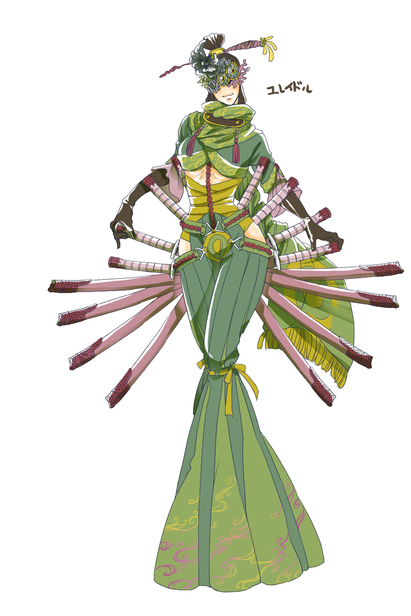 androgynous black_gloves black_hair character_name covered_eyes cradily elbow_gloves flower full_body gloves green_scarf hair_flower hair_ornament hair_stick highres personification pokemon scarf sheath sheathed standing sword uzou weapon