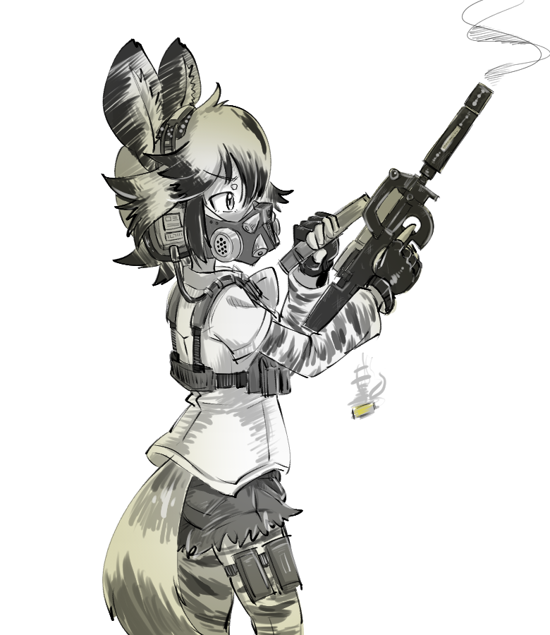 1girl african_wild_dog_(kemono_friends) african_wild_dog_ears african_wild_dog_print african_wild_dog_tail animal_ears bodystocking bullpup casing_ejection cowboy_shot eyebrows_visible_through_hair fingerless_gloves from_side gas_mask gloves gomu gun hands_up headset holding holding_gun holding_weapon kemono_friends long_sleeves mask p90 reloading shell_casing shirt short_hair short_sleeves shorts simple_background smoke smoking_gun solo standing submachine_gun tail thigh_pouch weapon white_background