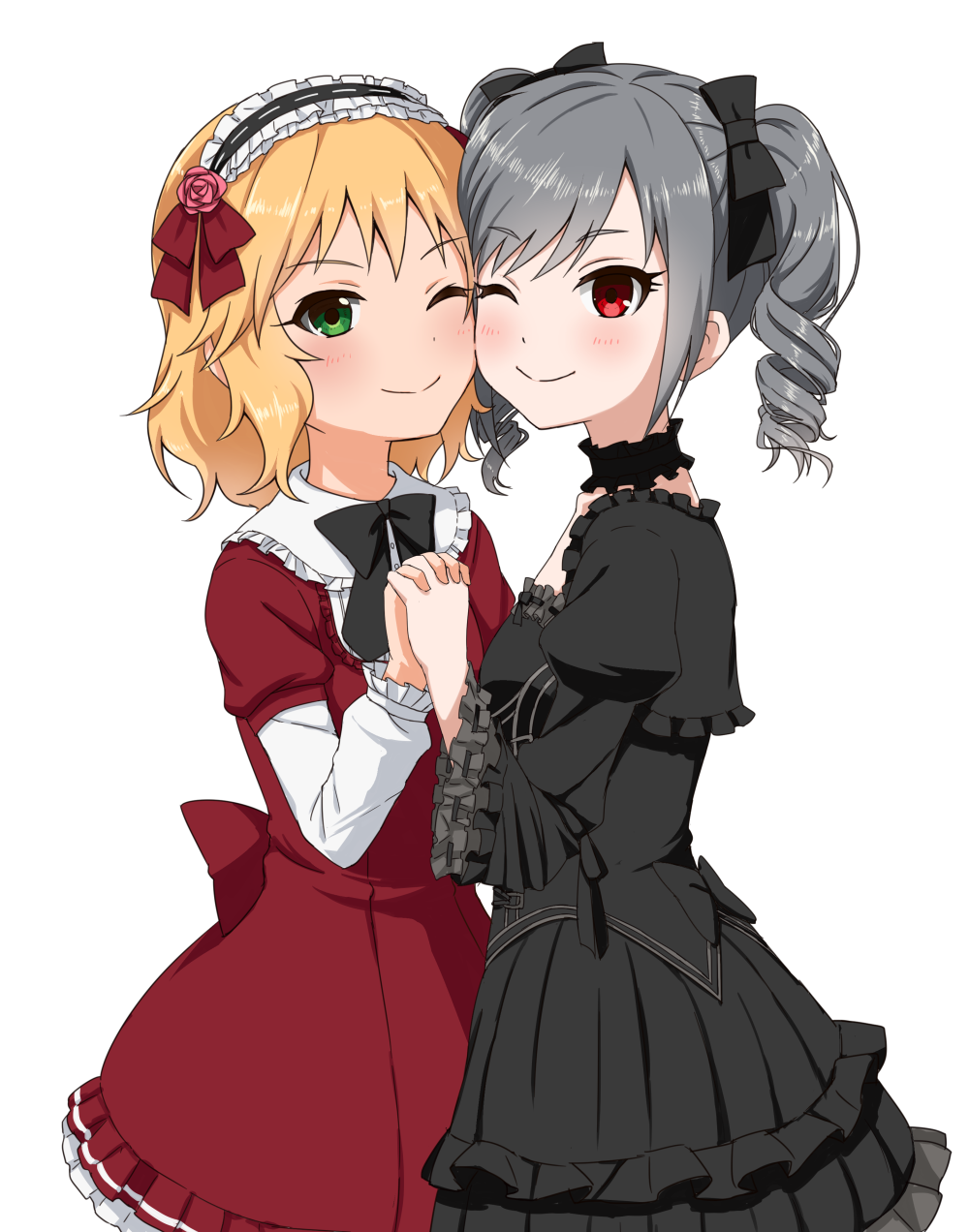 2girls ;) bangs black_bow black_dress black_neckwear blonde_hair blush bow bowtie breasts cheek-to-cheek closed_mouth dress drill_hair eyebrows_visible_through_hair flower frilled_dress frilled_hairband frilled_shirt_collar frilled_sleeves frills green_eyes grey_hair hair_bow hair_ribbon hairband hand_holding highres idolmaster idolmaster_cinderella_girls interlocked_fingers juliet_sleeves kanzaki_ranko layered_dress layered_sleeves lolita_hairband long_sleeves looking_at_viewer multiple_girls one_eye_closed pink_flower pink_rose puffy_sleeves red_dress red_ribbon ribbon ribbon-trimmed_sleeves ribbon_trim rose rose_hair_ornament sakurai_momoka shiny shiny_hair short_hair short_twintails simple_background small_breasts smile swept_bangs tareme twin_drills twintails udan white_background