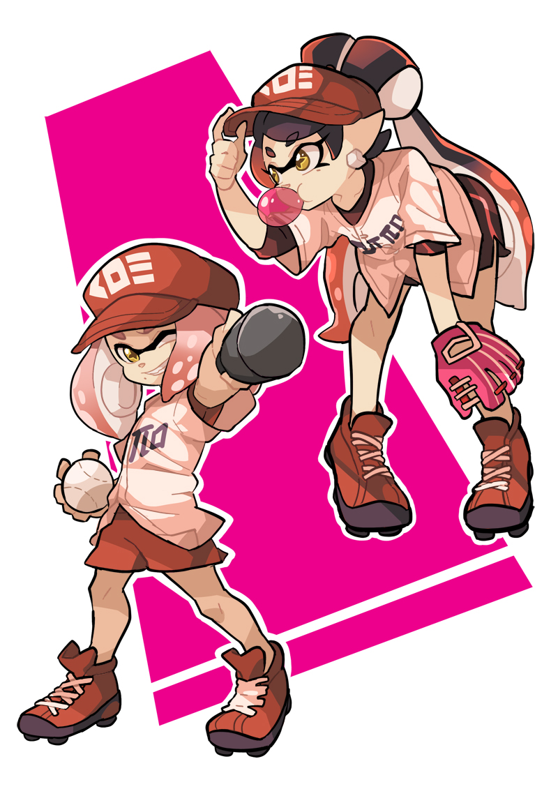 2girls aori_(splatoon) ball baseball baseball_bat baseball_cap baseball_glove baseball_uniform bubble_blowing chewing_gum cleats hat hime_(splatoon) looking_at_viewer multiple_girls smile splatoon splatoon_1 splatoon_2 sportswear tentacle_hair wong_ying_chee