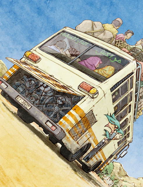 aqua_hair bag blue_sky bus dutch_angle ground_vehicle hat hatsune_miku hijab motor_vehicle mountain sky tomoyoshi_ohta twintails vocaloid