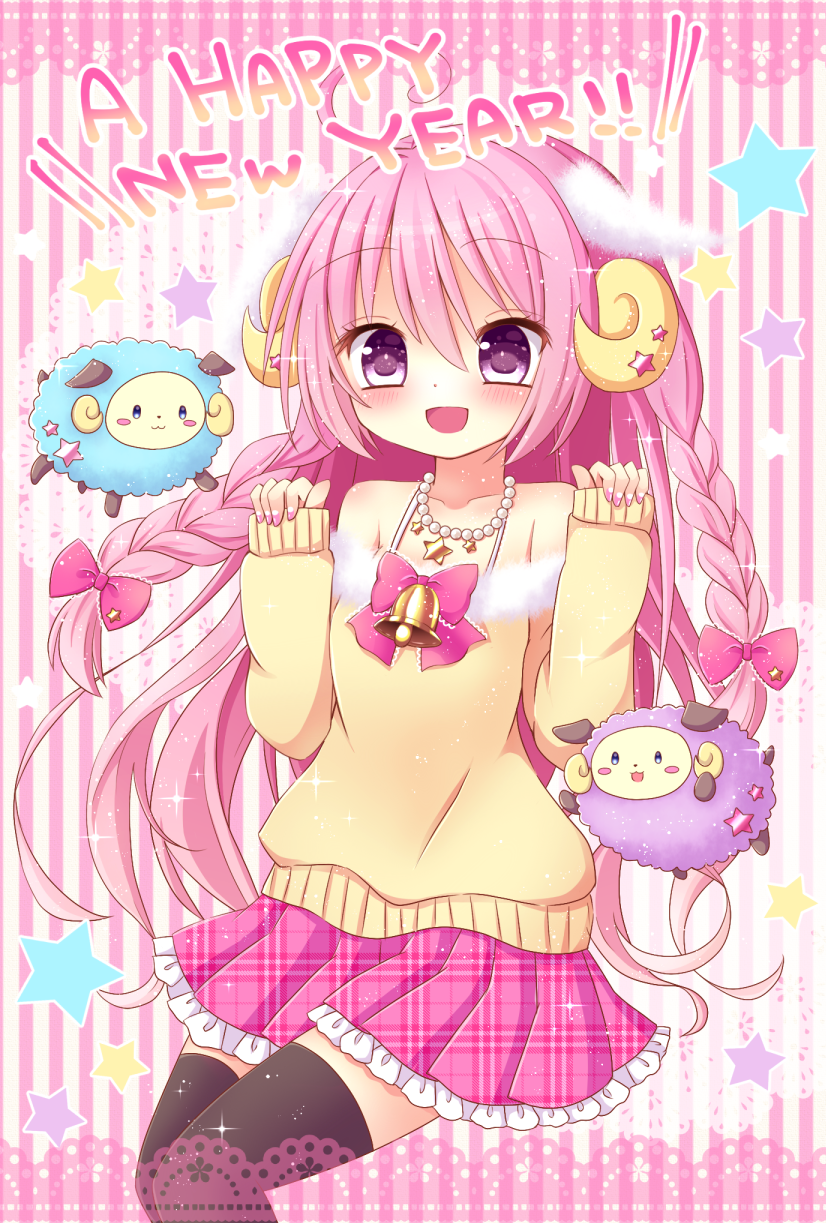 1girl :3 :d animal animal_ears bangs bare_shoulders black_legwear blush blush_stickers bow braid closed_mouth collarbone commentary_request curled_horns eyebrows_visible_through_hair fingernails frilled_skirt frills fur-trimmed_shirt fur_trim hair_between_eyes hair_bow hands_up highres himetsuki_luna horns jewelry lace_border long_hair long_sleeves looking_at_viewer nail_polish necklace nengajou new_year off-shoulder_shirt open_mouth original pearl_necklace pinching_sleeves pink_bow pink_hair pink_nails pink_skirt plaid plaid_skirt pleated_skirt sheep sheep_ears sheep_horns shirt skirt sleeves_past_wrists smile solo star striped striped_background thigh-highs twin_braids unmoving_pattern vertical-striped_background vertical_stripes very_long_hair violet_eyes yellow_shirt