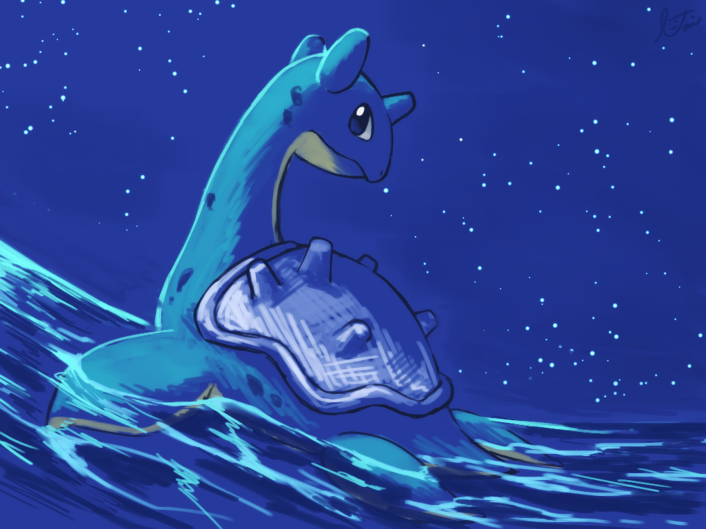 aqua_skin blue blue_eyes closed_mouth expressionless full_body gen_1_pokemon lai_(pixiv1814979) lapras looking_at_viewer looking_back night night_sky no_humans pokemon pokemon_(creature) shell sky solo star_(sky) starry_sky swimming water waves