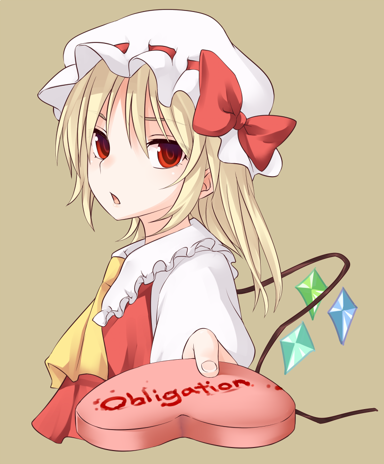 1girl ascot blonde_hair bow brown_background chocolate chocolate_heart flandre_scarlet hat hat_bow heart holding looking_at_viewer miyo_(ranthath) mob_cap open_mouth red_bow red_eyes simple_background solo touhou upper_body white_hat