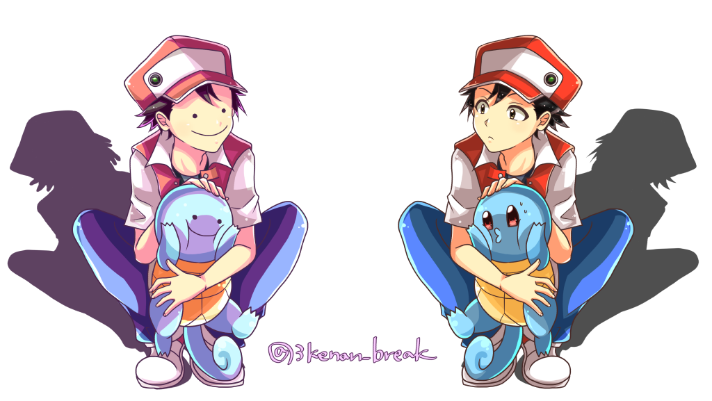 2boys baseball_cap black_eyes black_hair blue_pants collared_shirt creature denim ditto expressionless eye_contact gen_1_pokemon hat jeans looking_at_another multiple_boys nananiwaniwa orange_eyes pants pokemon pokemon_(creature) pokemon_(game) pokemon_rgby red_(pokemon) red_(pokemon)_(classic) shadow shirt shoes short_sleeves signature simple_background sitting smile squirtle symmetrical_pose transformed_ditto white_background
