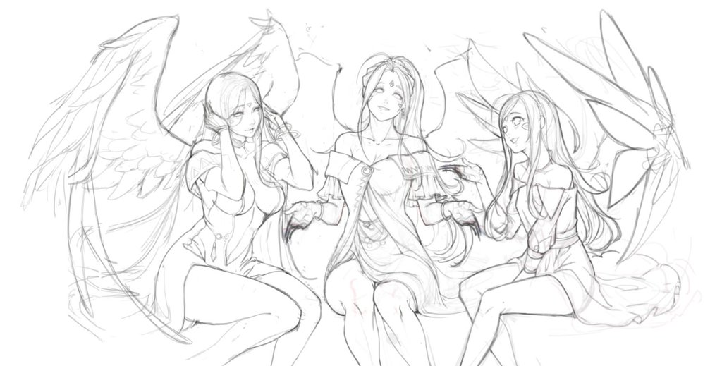 3girls aa_megami-sama ahoge antenna_hair belldandy breasts center_opening elbow_gloves facial_mark forehead_mark gloves greyscale gtunver large_breasts long_hair looking_at_viewer medium_breasts monochrome multiple_girls siblings sisters skuld small_breasts urd wings work_in_progress