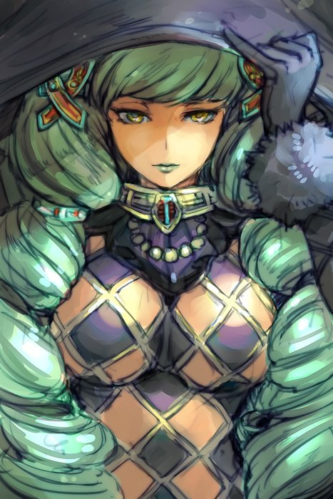 1girl breasts closed_mouth commentary_request drill_hair fiore_brunelli fur_trim gloves green_hair green_lipstick grey_gloves hair_ornament hand_on_headwear hand_up hankuri hat large_breasts lipstick looking_at_viewer makeup revealing_clothes solo star_ocean star_ocean_integrity_and_faithlessness upper_body yellow_eyes