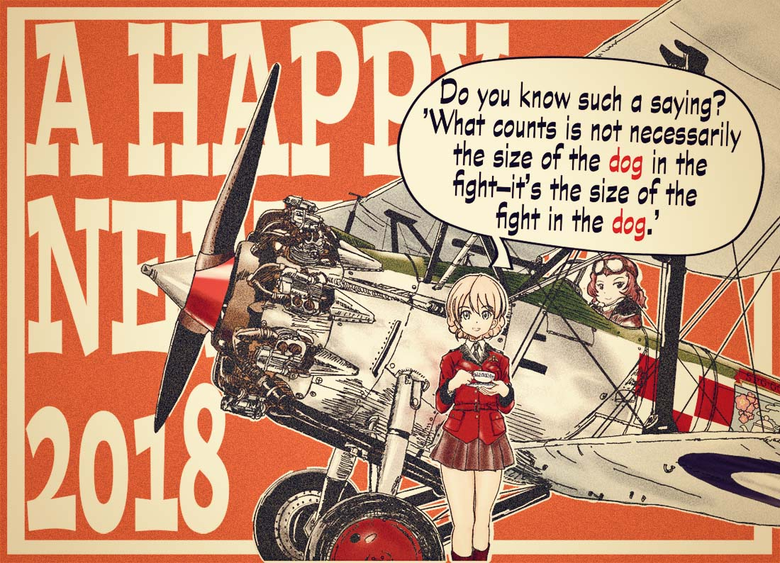 2018 2girls adapted_uniform aircraft airplane bangs biplane black_footwear black_neckwear black_skirt blonde_hair blue_eyes boots braid bristol_bulldog catchphrase chinese_zodiac closed_mouth commentary_request cup darjeeling dress_shirt emblem english epaulettes eyebrows_visible_through_hair girls_und_panzer goggles goggles_on_head happy_new_year holding jacket knee_boots long_sleeves looking_at_viewer military military_uniform military_vehicle miniskirt multiple_girls necktie nengajou new_year open_mouth partial_commentary pleated_skirt red_jacket redhead riding rosehip roundel saucer shinaba_morotomo shirt short_hair skirt smile st._gloriana's_(emblem) st._gloriana's_military_uniform standing teacup tied_hair twin_braids uniform white_shirt wing_collar year_of_the_dog