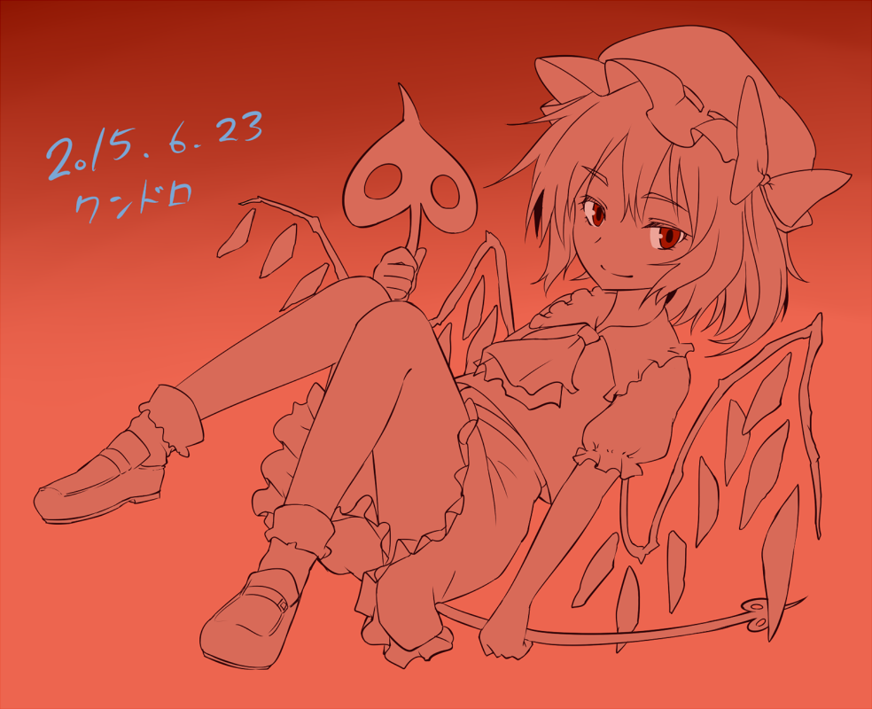 1girl ascot bangs bow brown_background closed_mouth dated eyebrows_visible_through_hair flandre_scarlet full_body gradient gradient_background hat holding laevatein loafers looking_at_viewer miyo_(ranthath) mob_cap monochrome red_eyes shoes short_sleeves side_ponytail skirt skirt_set smile socks solo touhou