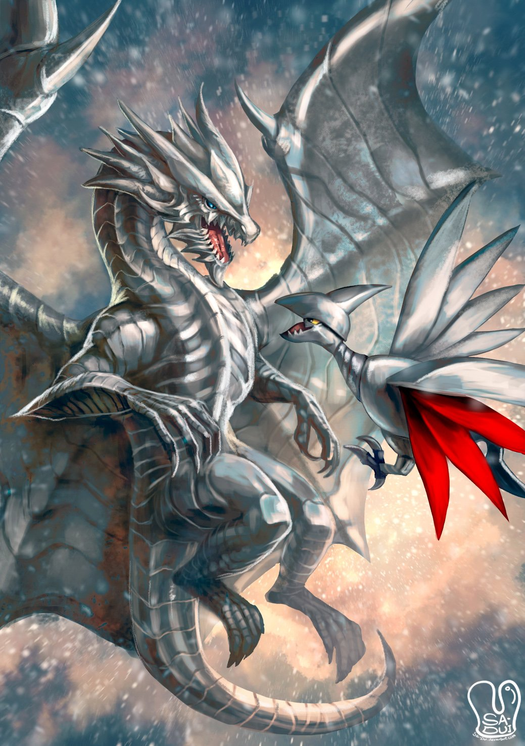 character_request crossover dragon flying gen_2_pokemon highres kushala_daora monster_hunter no_humans pokemon pokemon_(creature) sa-dui signature skarmory snow spread_wings