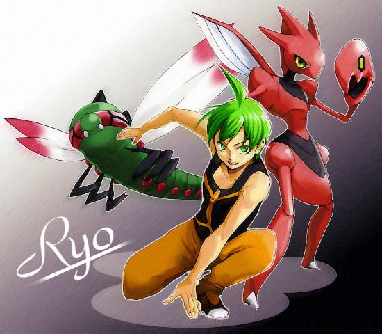green_eyes green_hair hirococo hirococo_(hakka) nintendo pokemon ryou_(pokemon) scizor short_hair yanmega