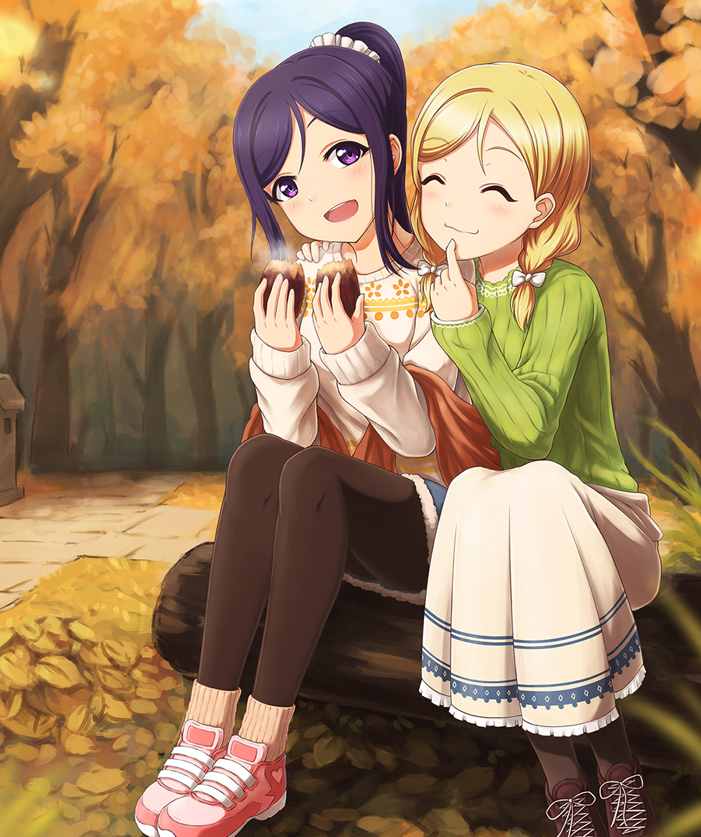 2girls :d ^_^ animal_ears arm_around_shoulder autumn black_legwear blonde_hair bow braid brown_footwear closed_eyes food fur-trimmed_shorts green_sweater hair_bow hair_over_shoulder holding holding_food log long_skirt long_sleeves looking_at_viewer love_live! love_live!_sunshine!! matsuura_kanan multiple_girls ohara_mari open_mouth pantyhose pink_footwear pointing pointing_at_self ponytail potato purple_hair ribbed_sweater scrunchie shoes sitting skirt smile sneakers socks_over_pantyhose steam sweater twin_braids violet_eyes white_bow white_scrunchie white_sweater zi_long