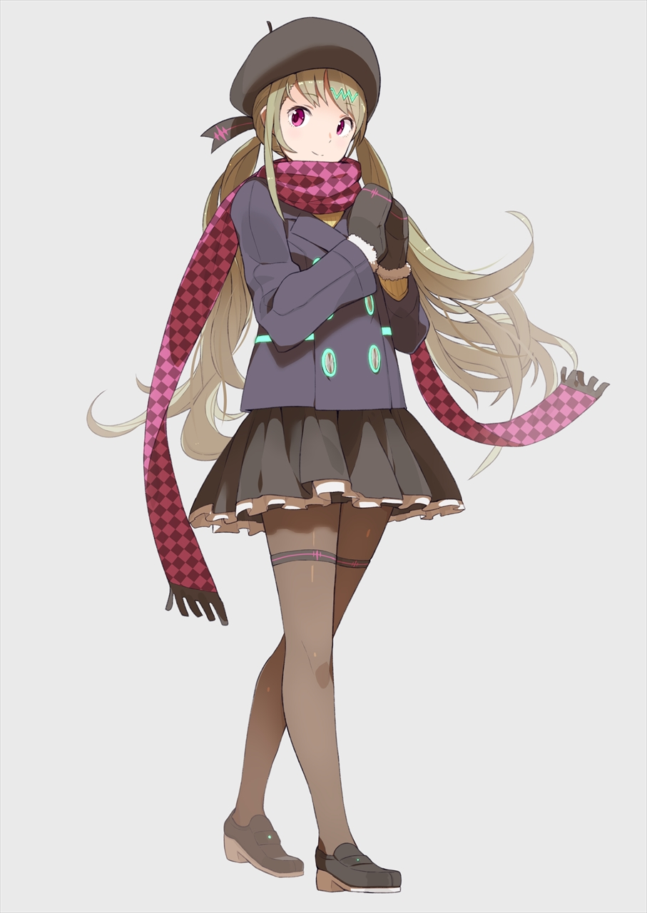1girl black_footwear black_gloves black_hat black_skirt checkered checkered_scarf eyebrows_visible_through_hair floating_hair full_body fur_trim gloves green_hair grey_background hair_ornament hat highres layered_skirt long_hair looking_at_viewer miniskirt pantyhose pleated_skirt red_eyes red_scarf scarf simple_background skirt smile solo standing tomioka_jirou twintails very_long_hair vocaloid xin_hua