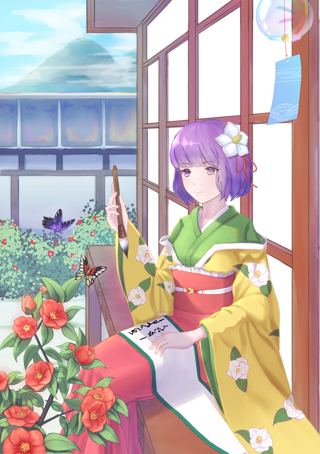 1girl architecture bangs blue_sky blunt_bangs bob_cut breasts bush butterfly calligraphy_brush camellia closed_mouth clouds commentary_request day east_asian_architecture eyebrows_visible_through_hair eyelashes feet_out_of_frame floral_print flower green_kimono hair_flower hair_ornament hakama hieda_no_akyuu highres holding_brush insect japanese_clothes kimono lan_qiandai layered_clothing layered_kimono light_smile long_sleeves medium_breasts mountain obi outdoors paintbrush purple_hair red_hakama sash scroll short_hair sitting sky solo swept_bangs touhou veranda violet_eyes wide_sleeves wind_chime wooden_wall yellow_kimono
